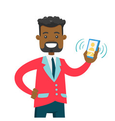 Young african man holding ringing mobile phone vector