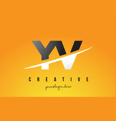 yv y v letter modern logo design with yellow vector image