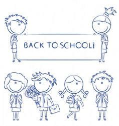 cheerful cute school kids wit vector image