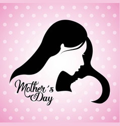 cute mom and baby silhouette mothers day vector image