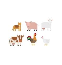 Different farm animals icons set vector image