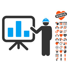 engineer pointing chart board icon with dating vector image