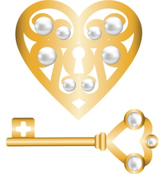 gold heart lock and key with pearl vector image vector image