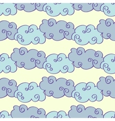 Pastel colored hand drawn clouds seamless vector image vector image