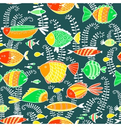 seamless background with fishes vector image vector image