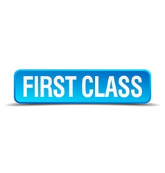 first class blue 3d realistic square isolated vector image vector image