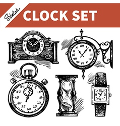 Hand drawn sketch set of clocks and watches vector image vector image