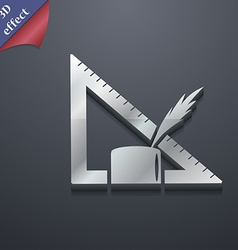 Pencil and ruler icon symbol 3D style Trendy vector image