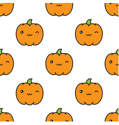 seamless halloween pattern with winking kawaii vector image vector image