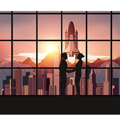 Silhouette people with space shuttle vector
