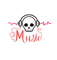 skull with headphones music tshirt vector image vector image