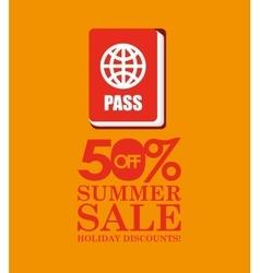 Summer sale 50 discounts with passport vector