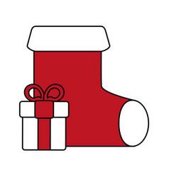 christmas sock design vector image vector image