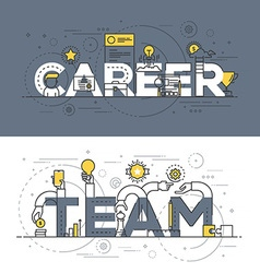 Flat design line concept banner Career and Team vector image vector image