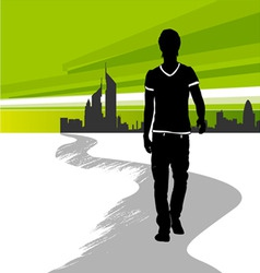 running man in the city vector image vector image
