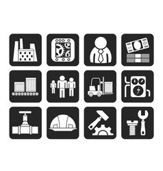 Silhouette factory and mill icons vector image vector image