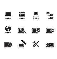 Silhouette Server and Hosting icons vector image vector image