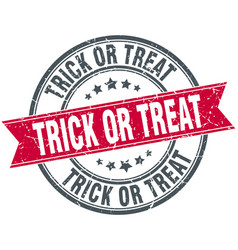 trick or treat round grunge ribbon stamp vector image vector image
