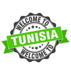 tunisia round ribbon seal vector image vector image