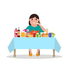 cartoon fat woman at the table vector image vector image