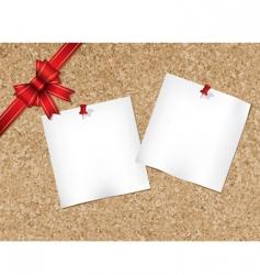 cork bulletin board with ribbon vector image