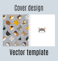 cover design with fur cats pattern vector image