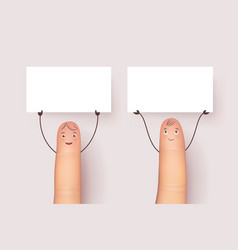 funny fingers with blank white poster vector image