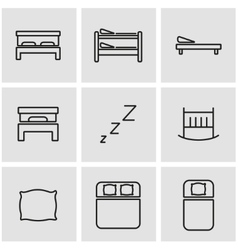 line bed icon set vector image