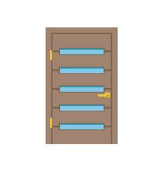 modern wooden door with glass closed elegant door vector image