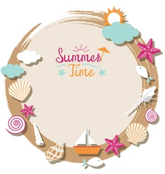 Sea Shell and Summer Objects Icons Wreath vector image vector image