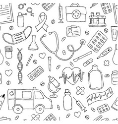 seamless pattern hand drawn doodle medicine hand vector image