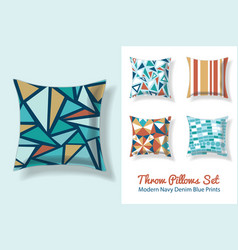 set of throw pillows in matching unique vintage vector image