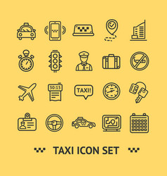 taxi services icon thin line set vector image