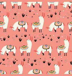 white llamas in a pink desert vector image vector image