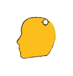 yellow head puzzle pieces image vector image