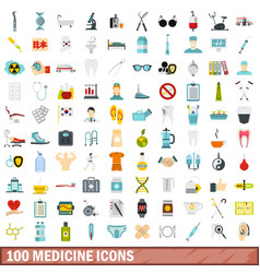 100 medicine icons set flat style vector image