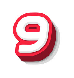 3d bold funny number 9 heavy type for modern vector