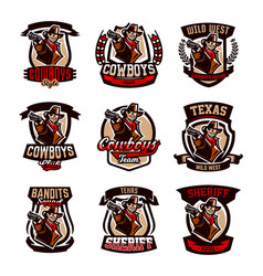 A set of colorful emblems logos cowboy with a vector