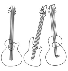 abstract guitar one line drawing vector image