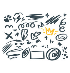 abstract hand drawn scribbles symbols set vector image