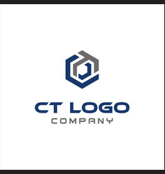 Abstract hexagon letter c t tc logo icon design vector