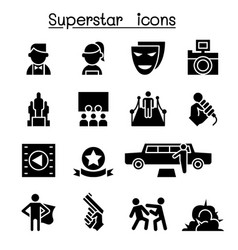 Actor actress celebrity super star icon set vector