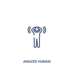 Amazed human concept 2 colored icon simple line vector