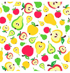 Apple pear background painted pattern vector