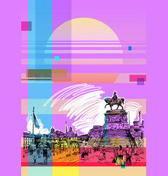 Art poster with sketch hand drawing of piazza vector