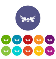 Aurora wing icons set color vector