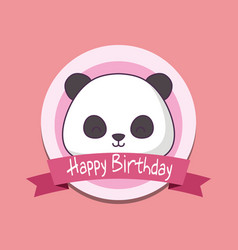 birthday card with cute bear panda kawaii vector image