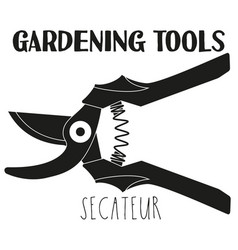 black and white secateur silhouette vector image