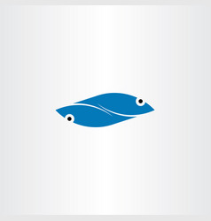 blue fish logo element symbol sign vector image