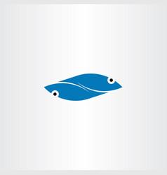 blue fish logo element symbol sign vector image